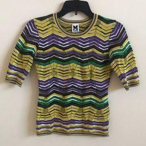 M Missoni Sheer Wave Pattern Crochet Knit Top